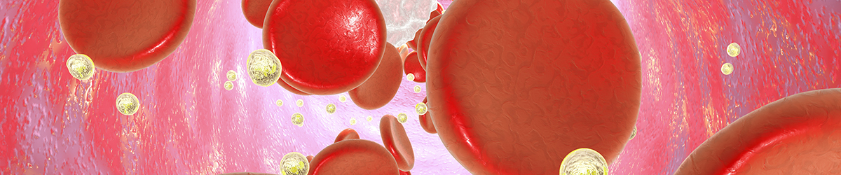 Gold nanoparticles and red blood cells travelling through an artery