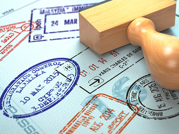 passport with visa stamps
