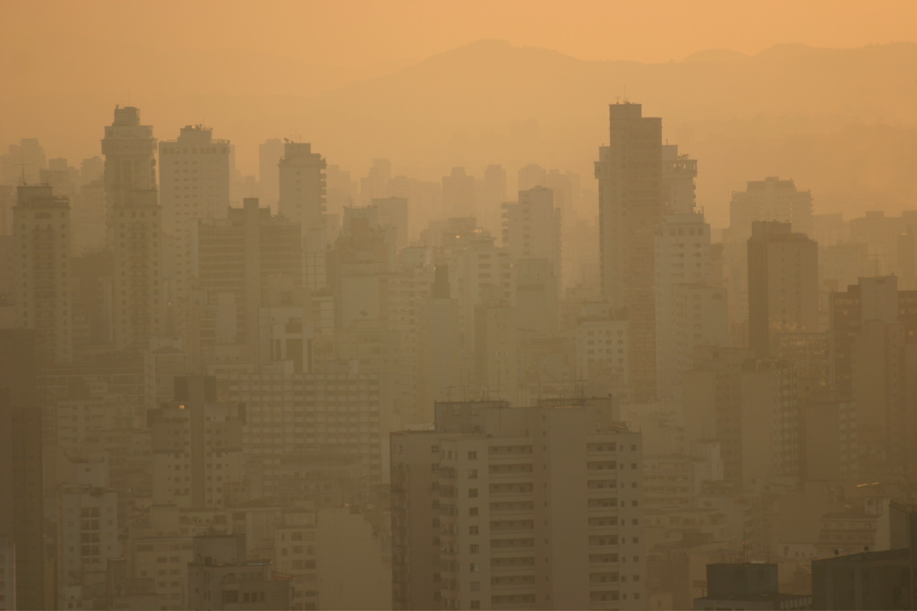 cityscape viewed through a smog